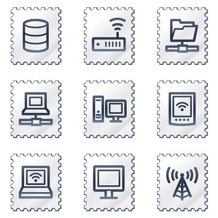 access point: Network web icons, white stamp series