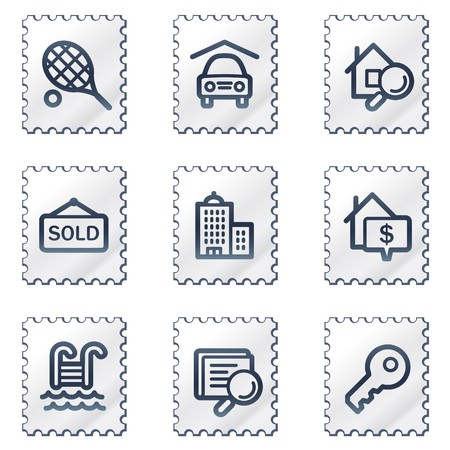 Real estate web icons, white stamp series Stock Vector - 6968645