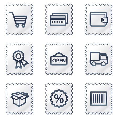 Shopping web icons set 2, white stamp series Stock Vector - 6968624