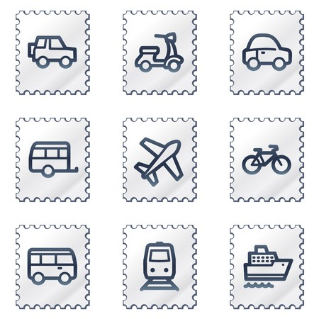 air liner: Transport  web icons, white stamp series
