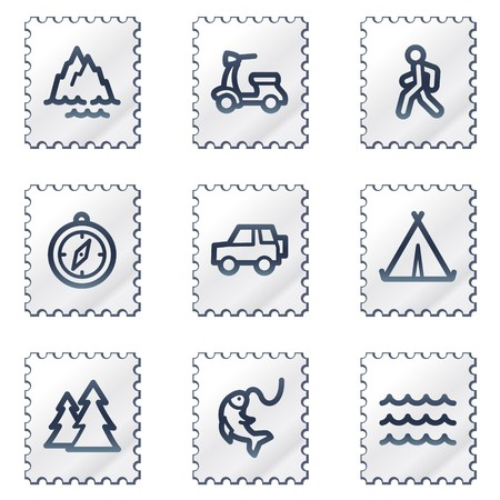 Travel web icons set 3, white stamp series Vector