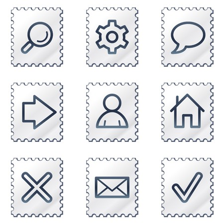 Basic web icons, white stamp series Stock Vector - 6968597