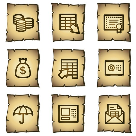 Banking web icons, papyrus series Vector