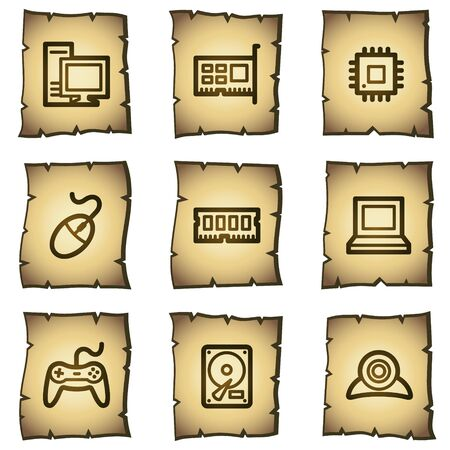 old pc: Computer web icons, papyrus series