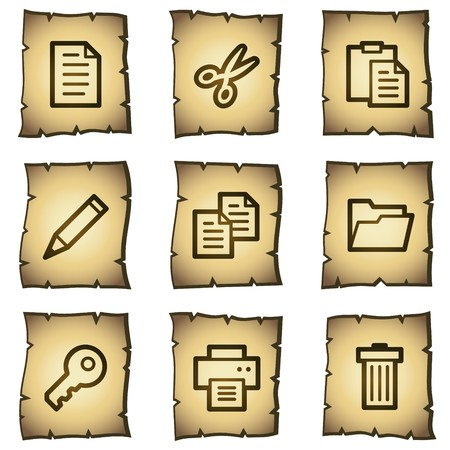 Document web icons set 1, papyrus series Vector