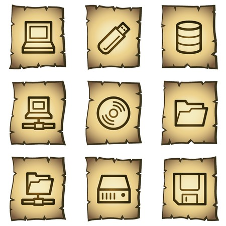 fdd: Drives and storage web icons, papyrus series Illustration