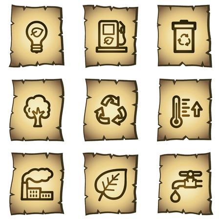 Ecology web icons set 1, papyrus series Vector