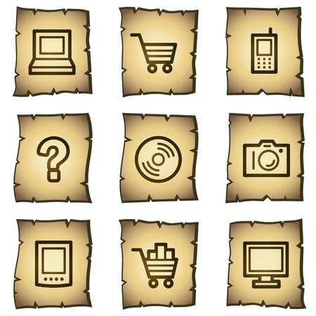 Electronics web icons set 1, papyrus series Vector