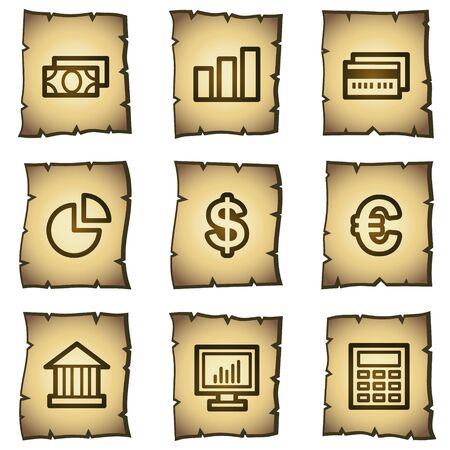 Finance web icons set 1, papyrus series Vector