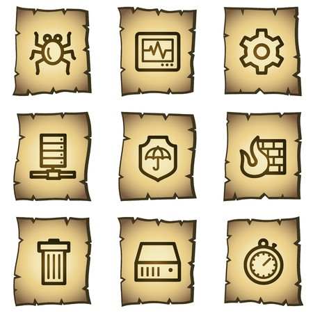 Internet security web icons, papyrus series  Vector