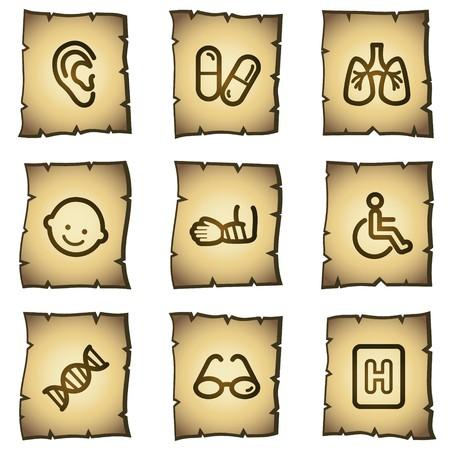 Medicine web icons set 2, papyrus series Vector