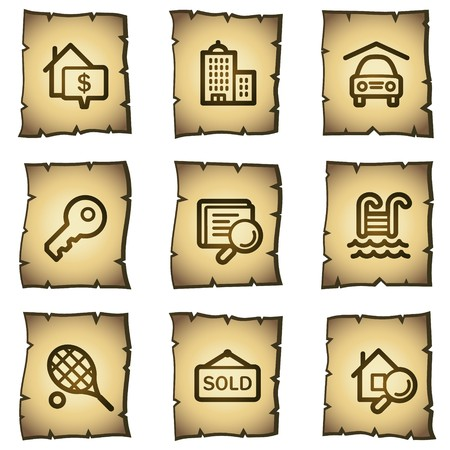 Real estate web icons, papyrus series Stock Vector - 7004501