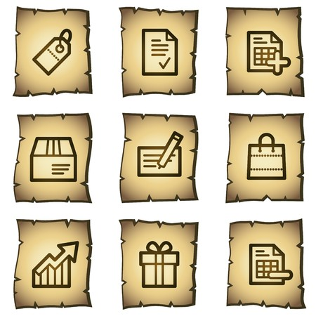 Shopping web icons set 1, papyrus series Vector