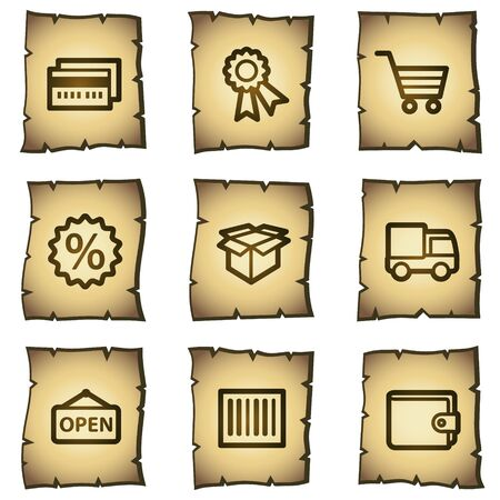 Shopping web icons set 2, papyrus series Vector