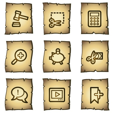 Shopping web icons set 3, papyrus series Иллюстрация