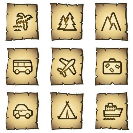 Travel web icons set 1, papyrus series Vector