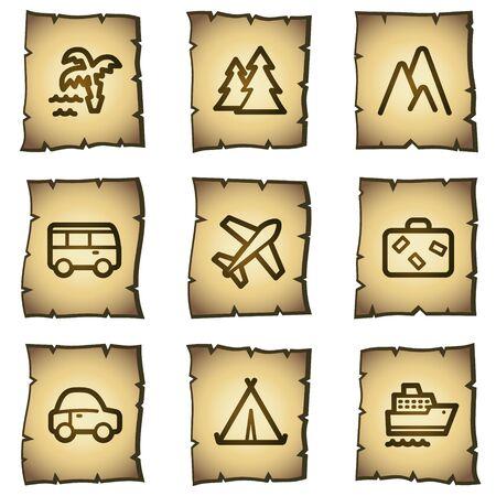 steamship: Web icons set 1, papyrus serie reizen Stock Illustratie
