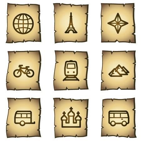 Travel web icons set 2, papyrus series Stock Vector - 7004471