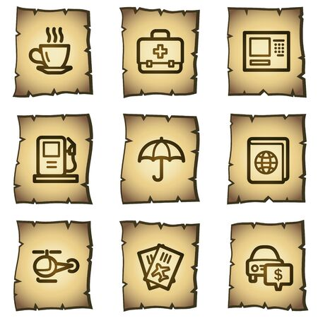 Travel web icons set 4, papyrus series Vector