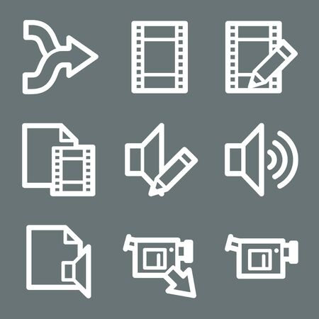 White contour audio and video web icons on grey Vector