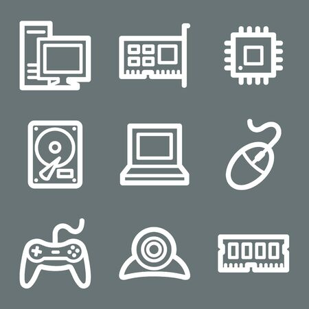White contour computer web icons on grey Vector