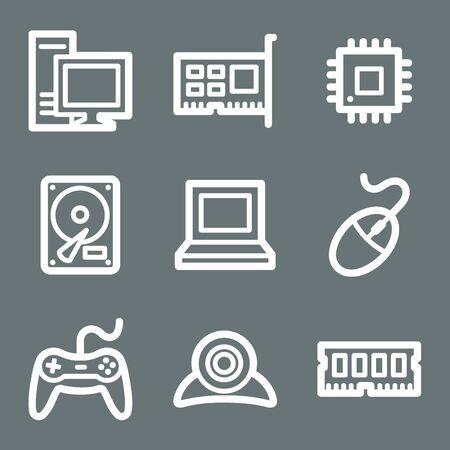 webcamera: White contour computer web icons on grey