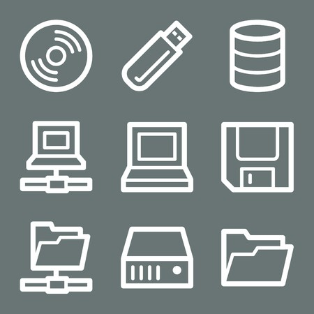 White contour drives and storage web icons on grey Stock Vector - 7004504
