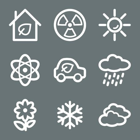 White contour ecology web icons on grey set 2 Stock Vector - 7004521