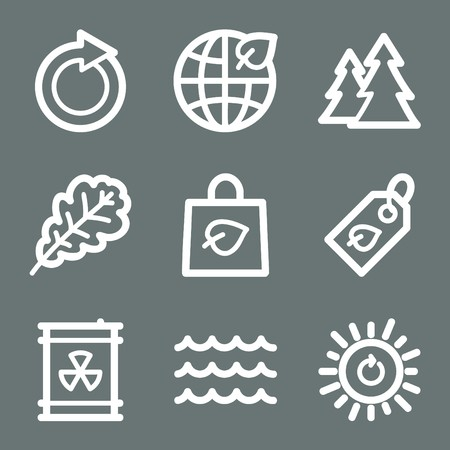 White contour ecology web icons on grey set 3 Stock Vector - 7004516