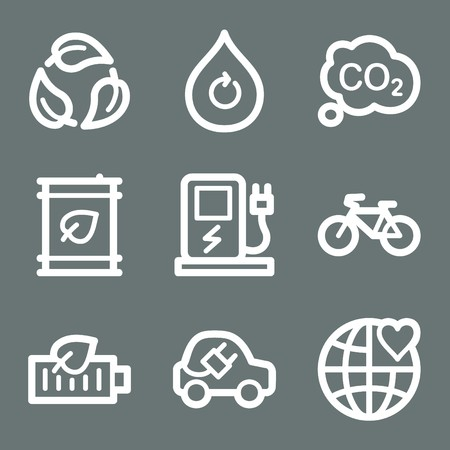 electro world: White contour ecology web icons on grey set 4