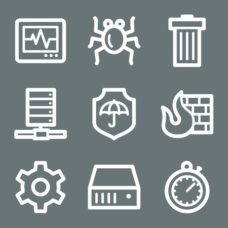 White contour internet security web icons on grey Stock Vector - 7004519