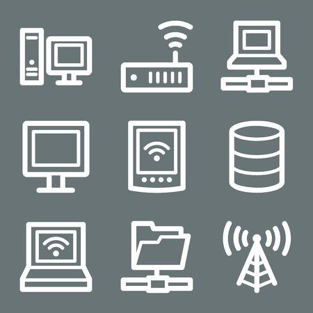 White contour network web icons on grey Vector