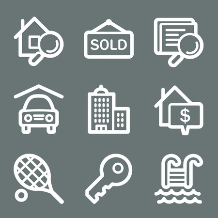 swimming pool home: White contour real estate web icons on grey