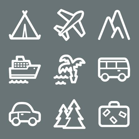 air liner: White contour travel web icons on grey set 1