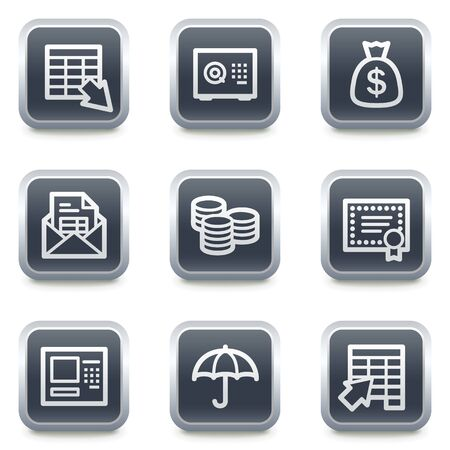 Banking web icons, grey square buttons Vector