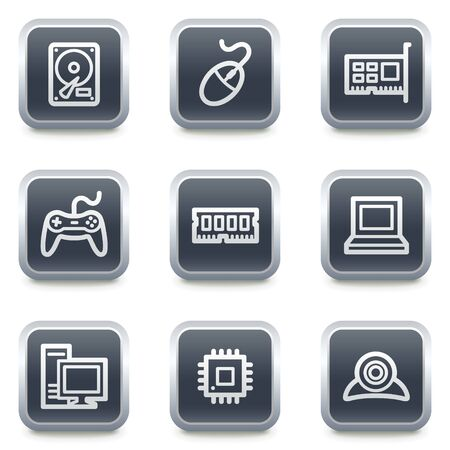 nettop: Computer web icons,grey square buttons
