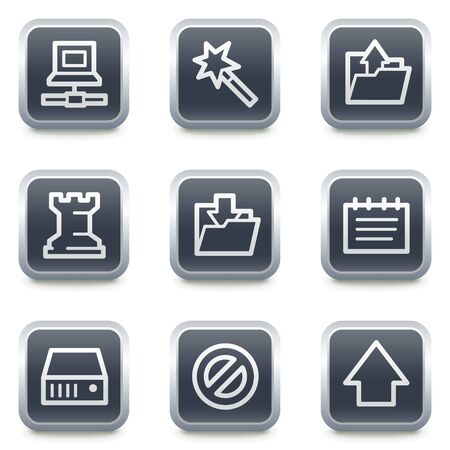 Data web icons, grey square buttons Stock Vector - 7139494