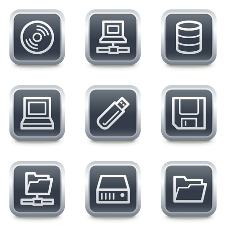Drives and storage web icons, grey square buttons Stock Vector - 7139498