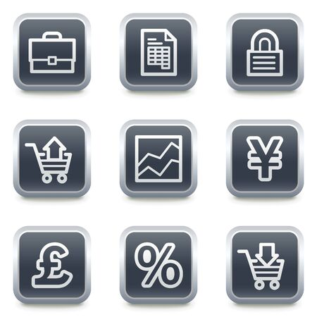 ebusiness: E-business web icons, grey square buttons Illustration