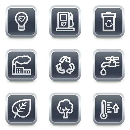 Ecology web icons set 1, grey square buttons Vector