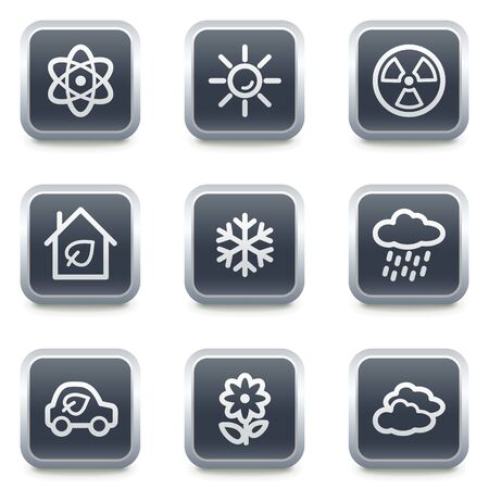 Ecology web icons set 2, grey square buttons Stock Vector - 7139529