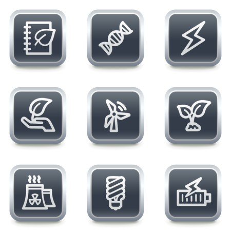 Ecology web icons set 5, grey square buttons Stock Vector - 7139522