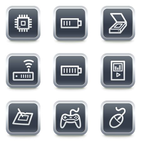 Electronics web icons set 2, grey square buttons Stock Vector - 7139514