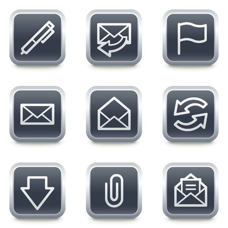 webmail: E-mail web icons, grey square buttons