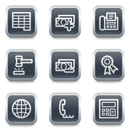 Finance web icons set 2, grey square buttons Stock Vector - 7139526