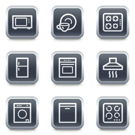 home appliances: Electrodom�sticos web botones cuadrados de iconos, gris