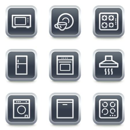 gas laundry: Home appliances web icons, grey square buttons
