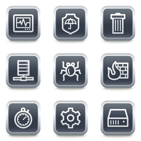 Internet security web icons, grey square buttons Stock Vector - 7139527