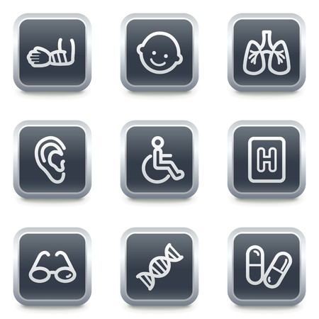 Medicine web icons set 2, grey square buttons Vector