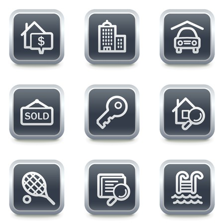 swimming pool home: Real estate web icons, grey square buttons Illustration